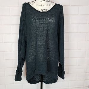 We The Free Free People Black Batwing Blouse L